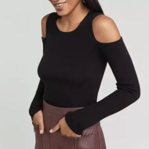 BCBGMAXAZRIA  Adaline Cold Shoulder Sweater Black